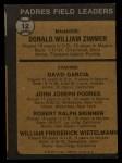 1973 Topps #12 ORG Padres Leaders  -  Don Zimmer / Dave Garcia / Johnny Podres / Bob Skinner / Whitey Wietelmann Back Thumbnail