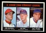 1967 Topps #237  1966 AL Strikeout Leaders  -  Jim Kaat / Sam McDowell / Earl Wilson Front Thumbnail