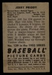 1952 Bowman #139   Jerry Priddy Back Thumbnail