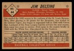 1953 Bowman Black and White #44  Jim Delsing  Back Thumbnail