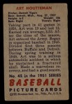 1951 Bowman #45   Art Houtteman Back Thumbnail