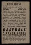 1952 Bowman #198  Chuck Diering  Back Thumbnail