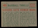 1959 Topps #465  Sievers Sets Homer Mark  -  Roy Sievers Back Thumbnail