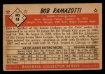 1953 Bowman Black and White #41   Bob Ramazotti Back Thumbnail