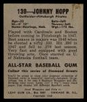 1949 Leaf #139  Johnny Hopp  Back Thumbnail