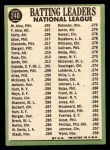 1967 Topps #240  NL Batting Leaders  -  Felipe Alou / Matty Alou / Rico Carty Back Thumbnail