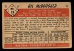 1953 Bowman #63  Gil McDougald  Back Thumbnail