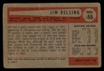 1954 Bowman #55   Jim Delsing Back Thumbnail