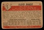 1953 Bowman Black and White #49  Floyd Baker  Back Thumbnail