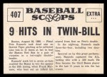 1961 Nu-Card Scoops #407   Pete Runnels   Back Thumbnail