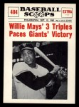 1961 Nu-Card Scoops #404   -   Willie Mays Three triples Front Thumbnail