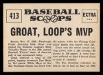 1961 Nu-Card Scoops #413   Dick Groat   Back Thumbnail
