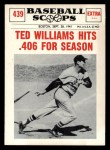 1961 Nu-Card Scoops #439   -   Ted Williams Hits .406 Front Thumbnail