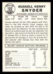 1960 Leaf #102  Russ Snyder  Back Thumbnail