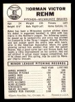 1960 Leaf #61 SML Vic Rehm  Back Thumbnail