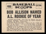 1961 Nu-Card Scoops #466   Bob Allison Back Thumbnail