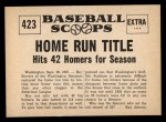 1961 Nu-Card Scoops #423   Roy Sievers   Back Thumbnail