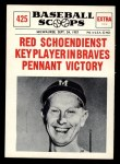 1961 Nu-Card Scoops #425    Red Schoendienst  Front Thumbnail