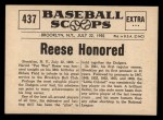 1961 Nu-Card Scoops #437   Pee Wee Reese   Back Thumbnail