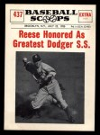 1961 Nu-Card Scoops #437    Pee Wee Reese  Front Thumbnail