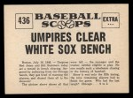 1961 Nu-Card Scoops #436    Umpire Clears Bench  Back Thumbnail