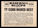 1961 Nu-Card Scoops #443   Ty Cobb   Back Thumbnail