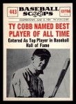 1961 Nu-Card Scoops #443    Ty Cobb  Front Thumbnail