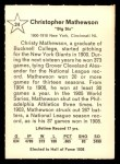 1961 Golden Press #24   Christy Mathewson Back Thumbnail