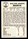 1960 Leaf #17 SML  Walt Moryn Back Thumbnail