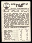 1960 Leaf #61 SML Vic Rehm  Back Thumbnail