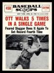 1961 Nu-Card Scoops #458   Mel Ott   Front Thumbnail