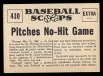 1961 Nu-Card Scoops #410    Don Cardwell  Back Thumbnail