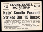 1961 Nu-Card Scoops #411   Camilo Pascual   Back Thumbnail