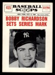 1961 Nu-Card Scoops #415   Bobby Richardson Front Thumbnail