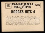 1961 Nu-Card Scoops #441   Gil Hodges   Back Thumbnail