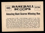 1961 Nu-Card Scoops #445   Phil Rizzuto   Back Thumbnail