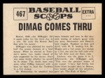1961 Nu-Card Scoops #467  Four Homers  -   Joe DiMaggio Back Thumbnail