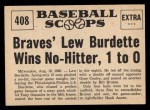 1961 Nu-Card Scoops #408   -   Lew Burdette No-hitter Back Thumbnail