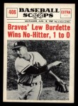 1961 Nu-Card Scoops #408   -   Lew Burdette No-hitter Front Thumbnail