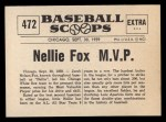 1961 Nu-Card Scoops #472    Nellie Fox  Back Thumbnail