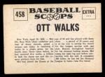 1961 Nu-Card Scoops #458   Mel Ott   Back Thumbnail