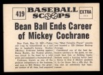 1961 Nu-Card Scoops #419   Mickey Cochrane   Back Thumbnail