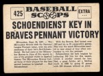 1961 Nu-Card Scoops #425    Red Schoendienst  Back Thumbnail