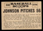 1961 Nu-Card Scoops #440   Walter Johnson   Back Thumbnail