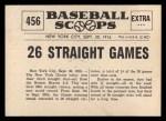 1961 Nu-Card Scoops #456   Giants 26 Game Streak   Back Thumbnail