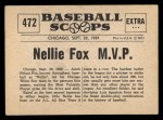 1961 Nu-Card Scoops #472  Nelson 'Nellie' Fox  Back Thumbnail