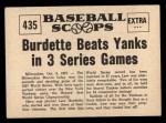 1961 Nu-Card Scoops #435  3 Wins  -   Lew Burdette Back Thumbnail
