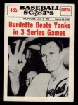 1961 Nu-Card Scoops #435   -   Lew Burdette 3 Wins Front Thumbnail