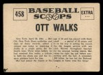 1961 Nu-Card Scoops #458   Mel Ott   Back Thumbnail