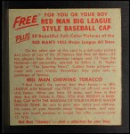1955 Red Man #7 NLx Willie Mays  Back Thumbnail